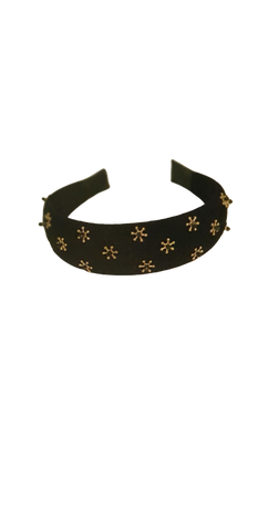 Headband Black Velvet Golden Stars