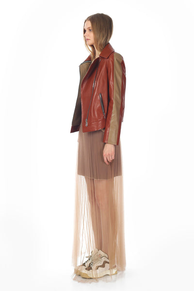 Perseph Leather Skirt Nude