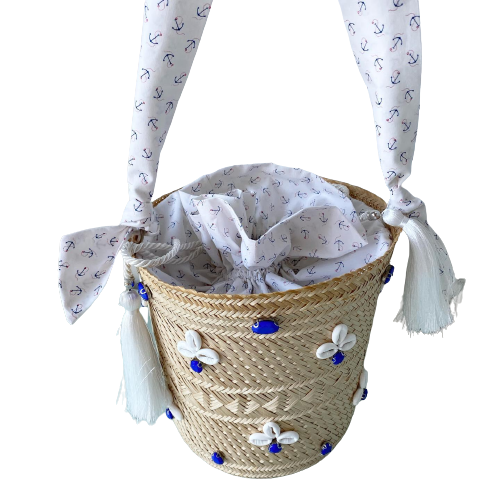 Bucket Bag White & Blue Crystal