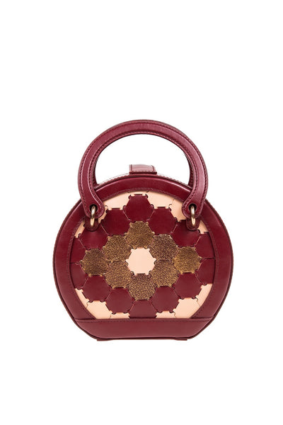 Halide Leather Circle Crossbody Bag Bordeaux