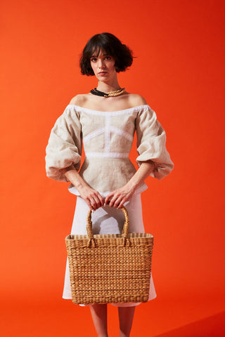 White & Beige Wide Strips Straw Bag