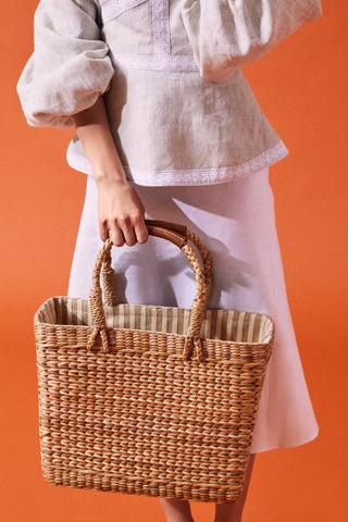 White and Beige Strips Straw Bag