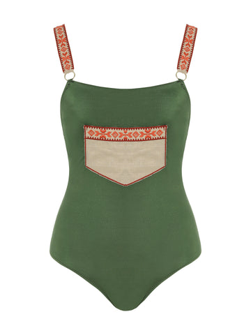 Posh One Piece Khaki Swimsuit