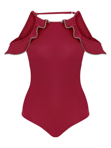 Ruffle One Piece Red Swimuit