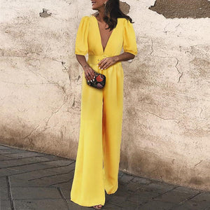 Fashion Plain V Neck Vacation Jumpsuit