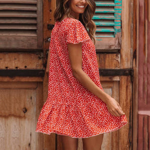 Floral Printed Vacation Mini Dress