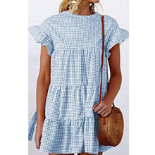 Load image into Gallery viewer, Grid Pattern Casual Short Sleeves Mini Dresses