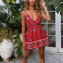 Load image into Gallery viewer, Printed Lace Stitching Mini Dress