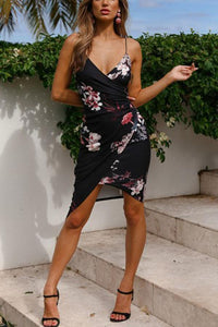 Sexy V Neck Floral Print Bodycon Dress