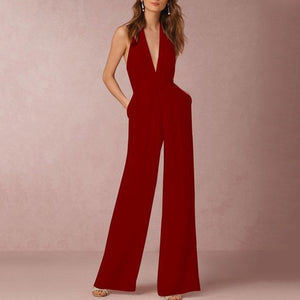 Halter Pocket Plain Wide-Leg Jumpsuit