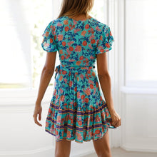 Load image into Gallery viewer, Simple V Collar Floral Printed Beach Vacation Dress