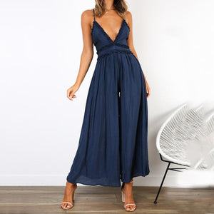 Fashion Sexy V-Neck Halter Strap   Jumpsuit