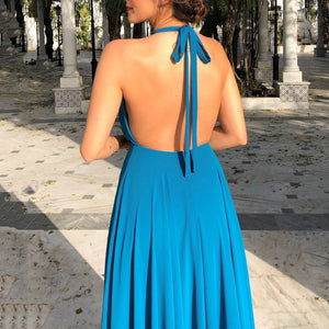 Sexy Sleeveless Halter Open Back Split Dress