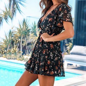 Short Sleeve Print Sexy Dress