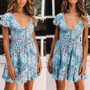 Sexy V Collar Floral Printed Mini Vacation Dress