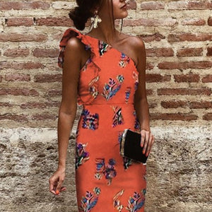Sexy One Shoulder Sleeveless Floral Print Bodycon Dress