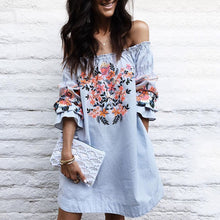 Load image into Gallery viewer, Off Shoulder Floral Printed Bell Sleeve Mini Dresses