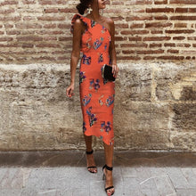Load image into Gallery viewer, Sexy One Shoulder Sleeveless Floral Print Bodycon Dress