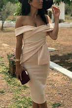 Load image into Gallery viewer, Sexy Apricot Off Shoulder Short Sleeves Bodycon Dress