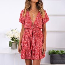 Load image into Gallery viewer, Sexy V-Neck Holiday Floral Dress