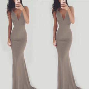 Sexy Spaghetti Strap V Neck Backless Evening   Dress