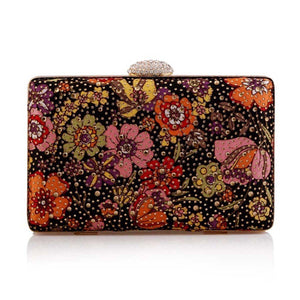 Gold Polka Dot Floral Clutch Bag