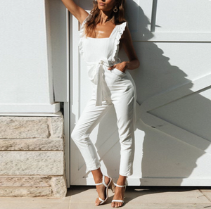 Fashion Ruffled Square Collar Sling Tied Belt Jumpsuit