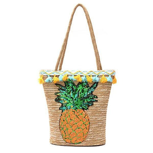 Pineapple Straw Sequin Beach Handbag