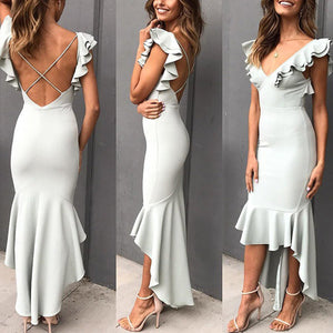 Elegant Ruffle Backless High-Low Hem Fishtail Evening Dress