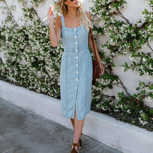 Summer Spaghetti Strap Casual Button Midi  Vacation Dress