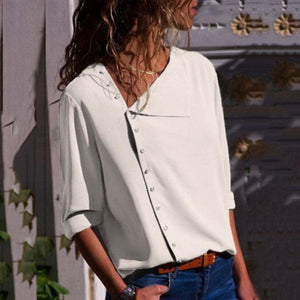 Button Irregular Diagonal Collar Long Sleeve Blouses T-Shirt