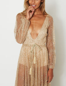 Sexy Deep V Long-Sleeved Evening Dress