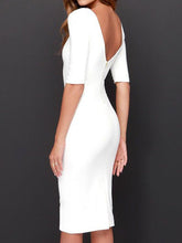 Load image into Gallery viewer, Boat Neck  Plain  Blend Bodycon Dress