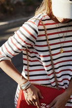 Load image into Gallery viewer, Round Neck Striped  Long Sleeve Casual Mini Dresses