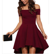 Load image into Gallery viewer, Elegant Pure Color Off Shoulder Mini Dress
