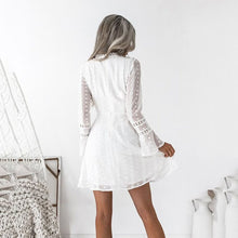 Load image into Gallery viewer, White Elegant Lace Long Sleeves Mini Dress