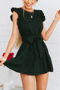 Sweet Fashion Lotus Leaf Sleeves Mini Dress