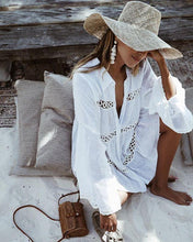 Load image into Gallery viewer, Shirt Type Trumpet Sleeve Beach Blouse Sun Protection Dress
