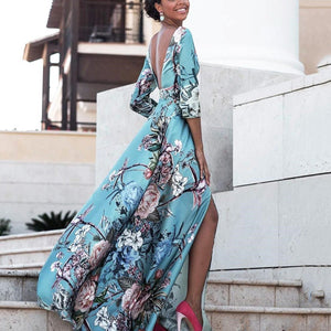 Sexy Backless Floral Print Vacation Maxi Dress