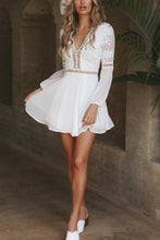Load image into Gallery viewer, Sexy V Neck Long Sleeves Lace Mini Dress