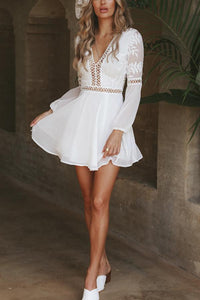 Sexy V Neck Long Sleeves Lace Mini Dress