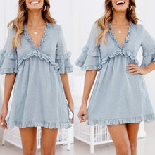 Load image into Gallery viewer, Sexy Light Blue V Neck Short Sleeves Mini Dress