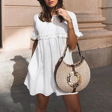 Load image into Gallery viewer, Fashion White Short Sleeves Mini Dress
