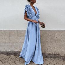 Load image into Gallery viewer, Sexy V Neck Short Sleeves Evening Maxi Dress