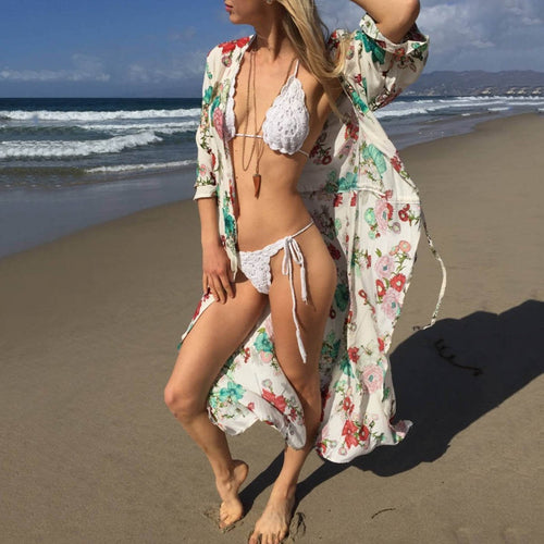 Floral Print Sunscreen Bikini Vacation Dress Cover Ups