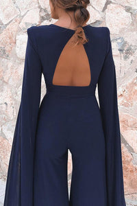 Sexy Dark Blue Long Sleeves Jumpsuits