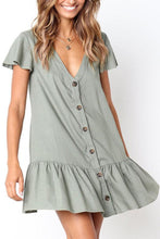 Load image into Gallery viewer, V Neck  Single Breasted  Plain  Short Sleeve Casual Dresses