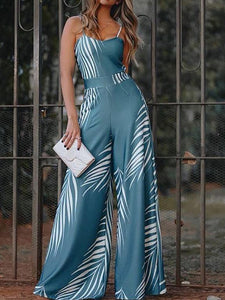 Fashion Vacation Printed Suspender High Waist Jumpsuits