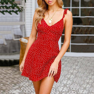 Spaghetti Strap Wave Point Vacation Mini Dresses