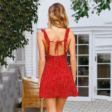 Load image into Gallery viewer, Spaghetti Strap Wave Point Vacation Mini Dresses